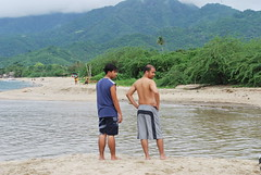 Saturday this was just a sandbar. Sunday, naging mini river. Malalim yan.