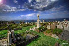 Cemetary on the Beach (Kyaw Photography) Tags: sky clouds landscape death sydney australia gravestones hdr clovellybeach photomatix waverleycemetary photoshopcs3 canoneos450d rebelxsi cemetaryonthebeach