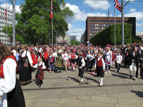 Many people wear bunad; traditional Norwegian clothing