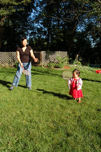 Nan and Aki playing badminton