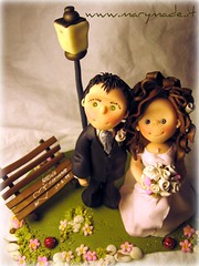 Cake topper - Romantic and Nostalgic (marytempesta) Tags: pink gardens parks polymerclay brides caketopper weddings grooms caketoppers weddingcaketoppers patepolymre bridesandgrooms