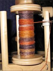 Apricot Cinder Merino-Silk spinning