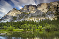 Half Dome Impressions #1 - Mirror Lake, Yosemite National Park, California (PatrickSmithPhotography) Tags: california longexposure travel sunset vacation sky usa cloud lake reflection art nature water grass rock pine clouds canon river landscape geotagged paradise mirrorlake sierra yosemite cottonwood granite halfdome 5d mkii mercedriver tenaya photocontesttnc09 bestwishestnc09
