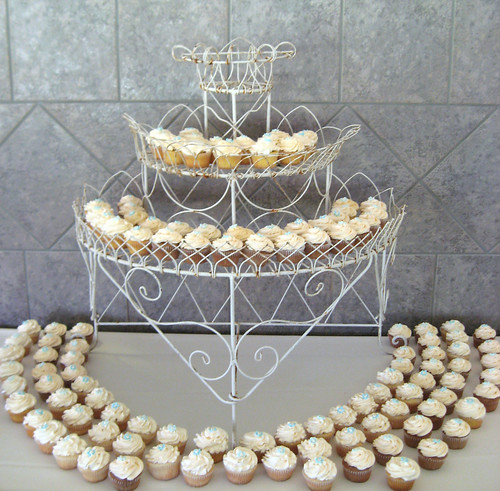 Gorgeous wedding cupcake tower display