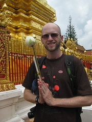 With my incents, candles and flowers during our puja at Wat Doi Suthep