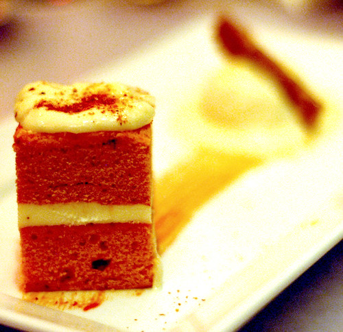 red pepper cake square