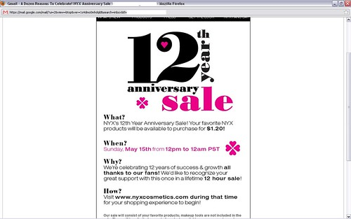 NYX 12th anniversary sale