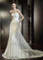 Vit bröllopsklänning i sjöjungfru-stuk