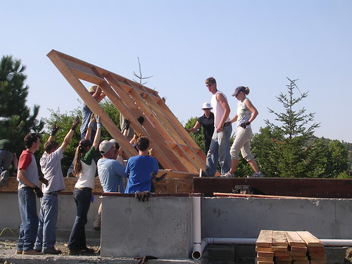 A volunteer crew helps construct a home in rural Oregon through the USDA Self Help Program.