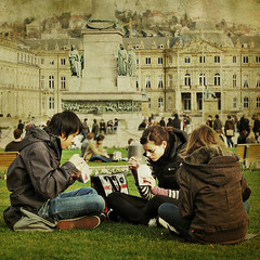 Friends are the most important ingredient in this recipe of life. (Ma) Tags: friends germany stuttgart streetphotography textures schlossplatz