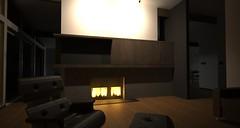 fireplace limestone night