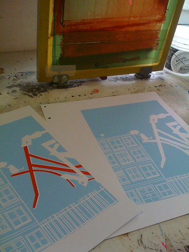 Going To See My Baby Blue print, 2 of 5 colors printed.
