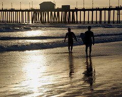 classic surfing silhouette (jst images) Tags: california sun reflection beach water silhouette gold pier sand waves surfer surfing surfers oc huntingtonbeach hb