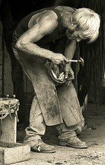 Shoeing Belle #5 (Crick3) Tags: bw color delete2 massachusetts save3 delete3 save7 quad save8 delete save save2 save9 save4 scanned layers save5 save10 save6 tones farrier negs savedbythedeletemeuncensoredgroup shutesbury save11 anawesomeshot artofimages seve5