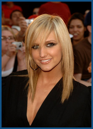 is a great looking medium length hair style with long side swept bangs.