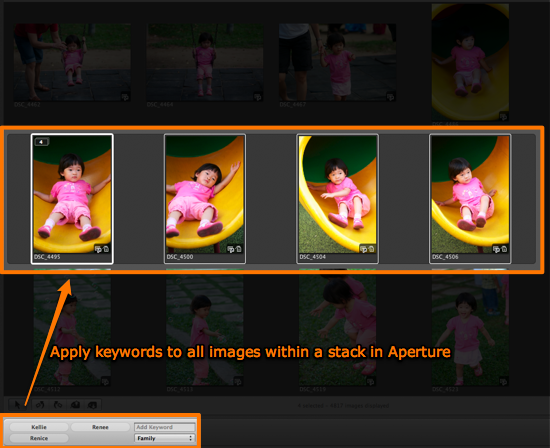 Apply keywords to all images within a stack in Aperture