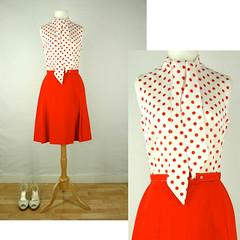 ♥ 1960's Red Dot Two-Tone Dress ♥ (VintageRoseClothing) Tags: red white rose vintage clothing mod dress womens international casual 1960s tiffany miniskirt pinup sleeveless semisheer pussybow hagewood httpwwwvintageroseclothingetsycom