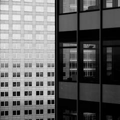 Through the [Window] | [Window] | [Window] ... (domlen) Tags: city sky bw white black tower skyline architecture facade germany europe hessen frankfurt main bank westend cladding skycraper dz dzbank westendtower unusualviewsperspectives domlen cityhausi
