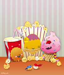 Popcorn Cinema (bubblefriends) Tags: cute cookies illustration candy character icecream batman sweets colourful fighting vector superheros watchers characterdesign popcorm popcornbag bublefriends