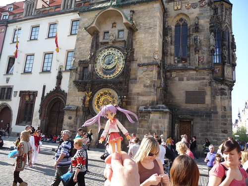 Kagami in front of Orloj Astronomical Clock