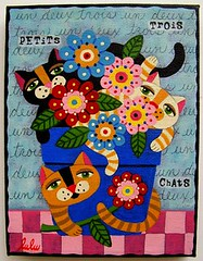 Cats in Flower Pot painting by LuLu (MyPinkTurtleStudio) Tags: flowers cats flower art illustration cat painting french chat folkart ebay lulu gardening gato etsy naive whimsical primitive mypinkturtle