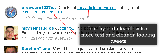 Text links in tweets