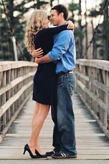 Joining (Colton Davie) Tags: park bridge love film engagement bokeh romance negative embrace magichour dayton