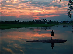 Rhythm of loneliness... (P.C.P) Tags: blue sunset sky lake reflection clouds island alone moody pcpsk59 thirukalukkundram