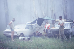 Our first camp with a baby, near Wyanbene Caves on a CSS trip. (spelio) Tags: wyanbene caves camp baby historic kate 1969 bush geli shoalhaven hillman holden 52views mist fly raining billies campfire hunter safari wagon 116views 200610 expat first fog rain slide 35mm 356views 031211 favs favourites favorites general random selection fave
