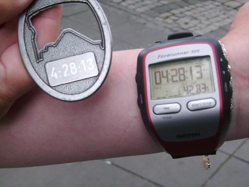 Die Zeit beim Düsseldorfer Marathon2009