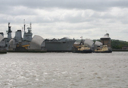 HMS Illustrious passing through the Thames Barrier - 1