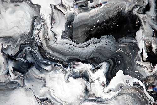 Black white fluid painting