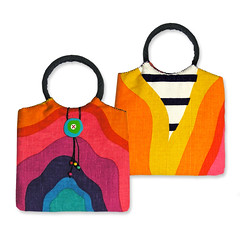 Rainbow Bag (weggart) Tags: vintage bag rainbow recycled handmade linen retro polymerclay upholstery handmadebuttons