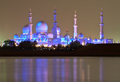 The Grand Mosque on the Arabian Gulf (Jim Boud) Tags: reflection water digital canon eos rebel interestingness al uae mosque explore zayed abudhabi sheikh unitedarabemirates xsi topaz persiangulf grandmosque nahyan explored 450d anawesomeshot jimboud jrbxom jamesboud jamesboudphotoart