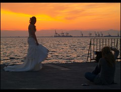 capturing the capturer (maios) Tags: travel wedding sunset sea sky water greek bride photo europa flickr ship photographer hellas greece macedonia thessaloniki fotografia justmarried salonica thermaikos capturing manikis maios iosif   heliography                    iosifmanikis