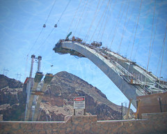 Hoover Dam Bypass Bridge (John Petrick) Tags: explore blackcanyon dangerkeepout bridgeconstruction explored watertexture hooverdambypassbridge bouldercitynevada hooverdambypass concordians mikeocallaghanpattillmanmemorialbridge overthecoloradoriver hooverdambridgeconstruction 900feetabovethecoloradoriver 2000footlongbridge