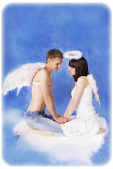 You are my Angel... (MissSmile) Tags: friends portrait cloud love couple soft heaven blues lovers together angels tender tenderness inlove