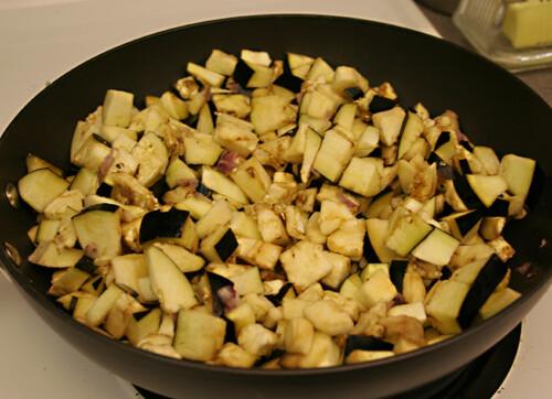 Cook eggplant mixture on stove