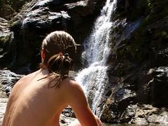 Posing at the Waterfall (2) (angeloska) Tags: pool waterfall ikaria aegean greece hikers canyoning   trailtoparadise chalares livada  angelolivada angelspool  dipotama  opsikarias mountainhikingclub