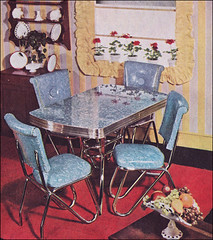 1950 Dinette Set by Boltaflex (American Vintage Home) Tags: blue red house home yellow design interior style 1950s geraniums 1950 midcentury boltaflex
