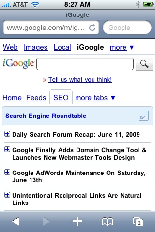 New Mobile iPhone iGoogle