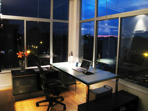 Brooklyn Home Office,  Minimized,  At Night