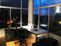 Brooklyn Home Office, Minimized, At Night (mkosut) Tags: newyorkcity home apple brooklyn work office minimal clean homeoffice lifehacker