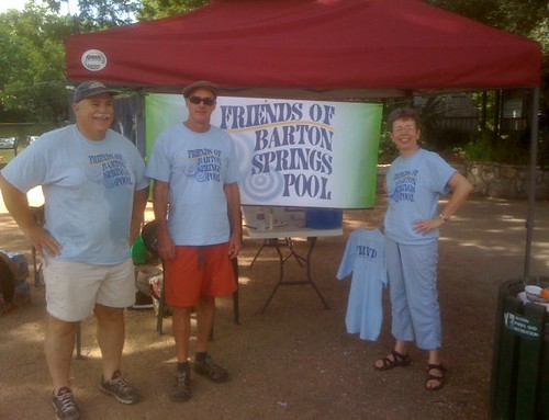 Peggy, Clarke, and Gary spent the morning at Barton Springs Pool, enrolling new FBSP members--who all went home happy with their new t-shirts!