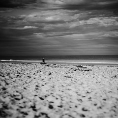 Sand and sky (Kerrie McSnap) Tags: ocean sky blackandwhite bw beach clouds sand nikon mood moody gloomy squares atmosphere greatoceanroad torquay d60