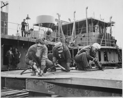 Chippers in a Shipyard [Shipbuilding. Three Women Working], 1942 (The U.S. National Archives) Tags: bw work workers women working goggles worldwarii shipyard shipbuilding chippers 81128 usnationalarchives womensbureau h928y 954326 nara:arcid=522892