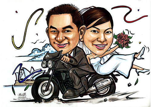Wedding couple caricatures on Triumph A4