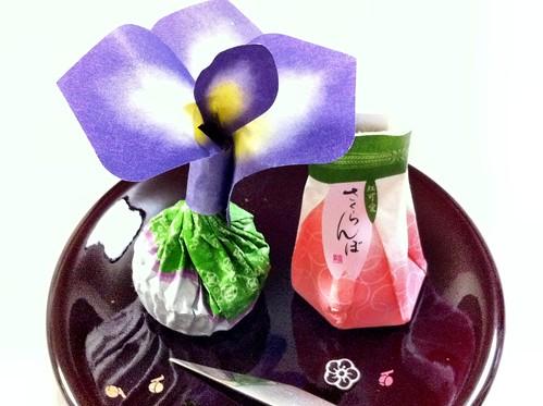 """今日のお菓子 No.45 – 和菓子 """"菖蒲餅""""と""""さくらんぼ"""""""
