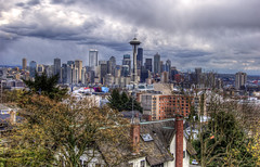 Seattle from Kerry Park (WorldofArun) Tags: seattle urban storm film rain ferry skyline architecture skyscraper docks harbor washington downtown artist gloomy view northwest queenanne overcast neighborhood explore transportation mountrainier april pacificnorthwest spaceneedle pugetsound kerrypark thunderstorm elliottbay bainbridge bainbridgeisland finale peninsula westcoast volcanic cascade thunder hdr episode queenannehill downtownseattle worldfair 10thingsihateaboutyou amazingrace 1927 cascaderange 18200mm washingtonstateferries photomatix steelsculpture wsdot nikond40x cascadevolcanicarc worldofarun westseattlepeninsula doristottenchase hoveringdisk arunyenumula albertsperrykerrysr