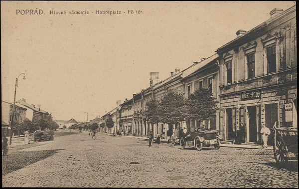 Pohľadnica Poprad - Hlavné námestie okolo roku 1925